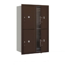Salsbury Industries 3712D-4PZFP Recessed Mounted 4C Horizontal Mailbox-12 Door High Unit (44 1/2 Inches)-Double Column-Stand-Alone Parcel Locker-4 PL6's-Bronze-Front Loading-Private Access