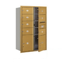 Salsbury Industries 3713D-07GFP Recessed Mounted 4C Horizontal Mailbox - 13 Door High Unit (48 Inches) - Double Column - 7 MB2 Doors and 2 PL5's - Gold - Front Loading - Private Access