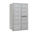 Salsbury Industries 3713D-11ARP Recessed Mounted 4C Horizontal Mailbox - 13 Door High Unit (48 Inches) - Double Column - 9 MB2 Doors / 2 MB3 Doors - Aluminum - Rear Loading - Private Access