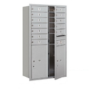 Salsbury Industries 3713D-12AFP Recessed Mounted 4C Horizontal Mailbox - 13 Door High Unit (48 Inches) - Double Column - 12 MB1 Doors / 2 PL6's - Aluminum - Front Loading - Private Access