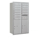 Salsbury Industries 3713D-12ARP Recessed Mounted 4C Horizontal Mailbox - 13 Door High Unit (48 Inches) - Double Column - 12 MB1 Doors / 2 PL6's - Aluminum - Rear Loading - Private Access