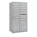 Salsbury Industries 3713D-13ARP Recessed Mounted 4C Horizontal Mailbox - 13 Door High Unit (48 Inches) - Double Column - 13 MB1 Doors / 1 PL5 and 1 PL6 - Aluminum - Rear Loading - Private Access