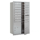 Salsbury Industries 3713D-14AFP Recessed Mounted 4C Horizontal Mailbox - 13 Door High Unit (48 Inches) - Double Column - 14 MB1 Doors / 2 PL5's - Aluminum - Front Loading - Private Access
