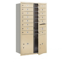Salsbury Industries 3713D-14SFP Recessed Mounted 4C Horizontal Mailbox - 13 Door High Unit (48 Inches) - Double Column - 14 MB1 Doors / 2 PL5's - Sandstone - Front Loading - Private Access