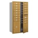 Salsbury Industries 3713D-15GFP Recessed Mounted 4C Horizontal Mailbox - 13 Door High Unit (48 Inches) - Double Column - 15 MB1 Doors / 1 PL4 and 1 PL5 - Gold - Front Loading - Private Access