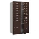 Salsbury Industries 3713D-15ZFU Recessed Mounted 4C Horizontal Mailbox - 13 Door High Unit (48 Inches) - Double Column - 15 MB1 Doors / 1 PL4 and 1 PL5 - Bronze - Front Loading - USPS Access