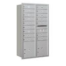 Salsbury Industries 3713D-16ARU Recessed Mounted 4C Horizontal Mailbox - 13 Door High Unit (48 Inches) - Double Column - 16 MB1 Doors / 2 PL4's - Aluminum - Rear Loading - USPS Access