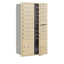 Salsbury Industries 3713D-16SFP Recessed Mounted 4C Horizontal Mailbox - 13 Door High Unit (48 Inches) - Double Column - 16 MB1 Doors / 2 PL4's - Sandstone - Front Loading - Private Access