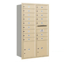 Salsbury Industries 3713D-16SRU Recessed Mounted 4C Horizontal Mailbox - 13 Door High Unit (48 Inches) - Double Column - 16 MB1 Doors / 2 PL4's - Sandstone - Rear Loading - USPS Access
