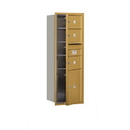 Salsbury Industries 3713S-03GFP Recessed Mounted 4C Horizontal Mailbox - 13 Door High Unit (48 Inches) - Single Column - 3 MB2 Doors / 1 PL5 - Gold - Front Loading - Private Access