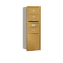 Salsbury Industries 3713S-03GRP Recessed Mounted 4C Horizontal Mailbox - 13 Door High Unit (48 Inches) - Single Column - 3 MB2 Doors / 1 PL5 - Gold - Rear Loading - Private Access