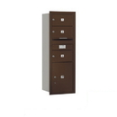 Salsbury Industries 3713S-03ZRP Recessed Mounted 4C Horizontal Mailbox - 13 Door High Unit (48 Inches) - Single Column - 3 MB2 Doors / 1 PL5 - Bronze - Rear Loading - Private Access