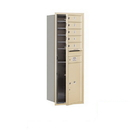 Salsbury Industries 3713S-05SFP Recessed Mounted 4C Horizontal Mailbox - 13 Door High Unit (48 Inches) - Single Column - 5 MB1 Doors / 1 PL6 - Sandstone - Front Loading - Private Access