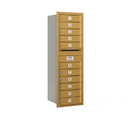 Salsbury Industries 3713S-11GRP Recessed Mounted 4C Horizontal Mailbox - 13 Door High Unit (48 Inches) - Single Column - 11 MB1 Doors - Gold - Rear Loading - Private Access