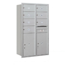 Salsbury Industries 3714D-07ARP Recessed Mounted 4C Horizontal Mailbox - 14 Door High Unit (51 1/2 Inches) - Double Column - 7 MB2 Doors / 2 PL6s - Aluminum - Rear Loading - Private Access