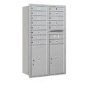 Salsbury Industries 3714D-14ARU Recessed Mounted 4C Horizontal Mailbox - 14 Door High Unit (51 1/2 Inches) - Double Column - 14 MB1 Doors / 2 PL6s - Aluminum - Rear Loading - USPS Access