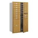Salsbury Industries 3714D-14GFU Recessed Mounted 4C Horizontal Mailbox - 14 Door High Unit (51 1/2 Inches) - Double Column - 14 MB1 Doors / 2 PL6s - Gold - Front Loading - USPS Access