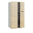 Salsbury Industries 3714D-14SFP Recessed Mounted 4C Horizontal Mailbox - 14 Door High Unit (51 1/2 Inches) - Double Column - 14 MB1 Doors / 2 PL6s - Sandstone - Front Loading - Private Access