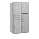 Salsbury Industries 3714D-15ARP Recessed Mounted 4C Horizontal Mailbox - 14 Door High Unit (51 1/2 Inches) - Double Column - 15 MB1 Doors / 1 PL5 and 1 PL6 - Aluminum - Rear Loading - Private Access