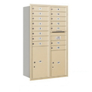 Salsbury Industries 3714D-15SRU Recessed Mounted 4C Horizontal Mailbox - 14 Door High Unit (51 1/2 Inches) - Double Column - 15 MB1 Doors / 1 PL5 and 1 PL6 - Sandstone - Rear Loading - USPS Access