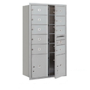 Salsbury Industries 3715D-09AFU Recessed Mounted 4C Horizontal Mailbox - 15 Door High Unit (55 Inches) - Double Column - 9 MB2 Doors and 2 PL5's - Aluminum - Front Loading - USPS Access