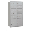Salsbury Industries 3715D-09ARU Recessed Mounted 4C Horizontal Mailbox - 15 Door High Unit (55 Inches) - Double Column - 9 MB2 Doors and 2 PL5's - Aluminum - Rear Loading - USPS Access
