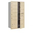 Salsbury Industries 3715D-09SFP Recessed Mounted 4C Horizontal Mailbox - 15 Door High Unit (55 Inches) - Double Column - 9 MB2 Doors and 2 PL5's - Sandstone - Front Loading - Private Access