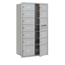 Salsbury Industries 3715D-13AFP Recessed Mounted 4C Horizontal Mailbox - 15 Door High Unit (55 Inches) - Double Column - 11 MB2 Doors / 2 MB3 Doors - Aluminum - Front Loading - Private Access