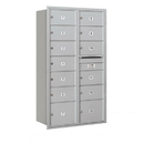 Salsbury Industries 3715D-13ARP Recessed Mounted 4C Horizontal Mailbox - 15 Door High Unit (55 Inches) - Double Column - 11 MB2 Doors / 2 MB3 Doors - Aluminum - Rear Loading - Private Access