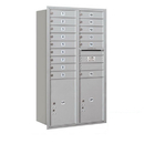 Salsbury Industries 3715D-15ARP Recessed Mounted 4C Horizontal Mailbox - 15 Door High Unit (55 Inches) - Double Column - 15 MB1 Doors / 2 PL6's - Aluminum - Rear Loading - Private Access