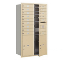 Salsbury Industries 3715D-15SFP Recessed Mounted 4C Horizontal Mailbox - 15 Door High Unit (55 Inches) - Double Column - 15 MB1 Doors / 2 PL6's - Sandstone - Front Loading - Private Access