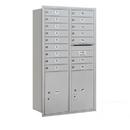 Salsbury Industries 3715D-16ARU Recessed Mounted 4C Horizontal Mailbox - 15 Door High Unit (55 Inches) - Double Column - 16 MB1 Doors / 2 PL6's - Aluminum - Rear Loading - USPS Access
