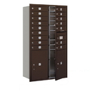 Salsbury Industries 3715D-16ZFP Recessed Mounted 4C Horizontal Mailbox - 15 Door High Unit (55 Inches) - Double Column - 16 MB1 Doors / 2 PL6's - Bronze - Front Loading - Private Access