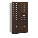 Salsbury Industries 3715D-16ZRP Recessed Mounted 4C Horizontal Mailbox - 15 Door High Unit (55 Inches) - Double Column - 16 MB1 Doors / 2 PL6's - Bronze - Rear Loading - Private Access