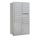 Salsbury Industries 3715D-17ARP Recessed Mounted 4C Horizontal Mailbox - 15 Door High Unit (55 Inches) - Double Column - 17 MB1 Doors / 1 PL5 and 1 PL6 - Aluminum - Rear Loading - Private Access