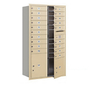 Salsbury Industries 3715D-19SFP Recessed Mounted 4C Horizontal Mailbox - 15 Door High Unit (55 Inches) - Double Column - 19 MB1 Doors / 1 PL4 and 1 PL5 - Sandstone - Front Loading - Private Access