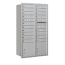 Salsbury Industries 3715D-20ARU Recessed Mounted 4C Horizontal Mailbox - 15 Door High Unit (55 Inches) - Double Column - 20 MB1 Doors / 2 PL4's - Aluminum - Rear Loading - USPS Access