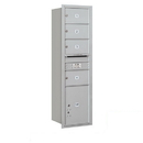 Salsbury Industries 3715S-04ARP Recessed Mounted 4C Horizontal Mailbox - 15 Door High Unit (55 Inches) - Single Column - 4 MB2 Doors / 1 PL5 - Aluminum - Rear Loading - Private Access