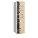 Salsbury Industries 3715S-04SFP Recessed Mounted 4C Horizontal Mailbox - 15 Door High Unit (55 Inches) - Single Column - 4 MB2 Doors / 1 PL5 - Sandstone - Front Loading - Private Access