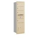 Salsbury Industries 3715S-04SRP Recessed Mounted 4C Horizontal Mailbox - 15 Door High Unit (55 Inches) - Single Column - 4 MB2 Doors / 1 PL5 - Sandstone - Rear Loading - Private Access