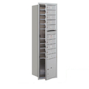 Salsbury Industries 3715S-09AFP Recessed Mounted 4C Horizontal Mailbox - 15 Door High Unit (55 Inches) - Single Column - 9 MB1 Doors / 1 PL4 - Aluminum - Front Loading - Private Access