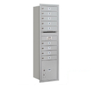 Salsbury Industries 3715S-09ARP Recessed Mounted 4C Horizontal Mailbox - 15 Door High Unit (55 Inches) - Single Column - 9 MB1 Doors / 1 PL4 - Aluminum - Rear Loading - Private Access