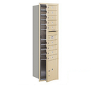 Salsbury Industries 3715S-09SFP Recessed Mounted 4C Horizontal Mailbox - 15 Door High Unit (55 Inches) - Single Column - 9 MB1 Doors / 1 PL4 - Sandstone - Front Loading - Private Access