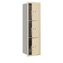Salsbury Industries 3715S-3PSFP Recessed Mounted 4C Horizontal Mailbox-15 Door High Unit (55 Inches)-Single Column-Stand-Alone Parcel Locker-3 PL5s-Sandstone-Front Loading-Private Access