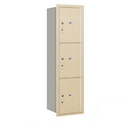Salsbury Industries 3715S-3PSRP Recessed Mounted 4C Horizontal Mailbox - 15 Door High Unit(55 Inches)- Single Column - Stand-Alone Parcel Locker - 3 PL5s - Sandstone - Rear Loading - Private Access