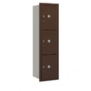 Salsbury Industries 3715S-3PZRP Recessed Mounted 4C Horizontal Mailbox - 15 Door High Unit (55 Inches) - Single Column - Stand-Alone Parcel Locker - 3 PL5s - Bronze - Rear Loading - Private Access