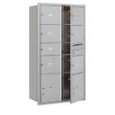Salsbury Industries 3716D-07AFU Recessed Mounted 4C Horizontal Mailbox-Maximum Height Unit (56 3/4 Inches)-Double Column-1 MB2 Door / 6 MB3 Doors / 2 PL4.5's-Aluminum-Front Loading-USPS Access