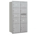 Salsbury Industries 3716D-07ARP Recessed Mounted 4C Horizontal Mailbox-Maximum Height Unit (56 3/4 Inches)-Double Column-1 MB2 Door / 6 MB3 Doors / 2 PL4.5's-Aluminum-Rear Loading-Private Access