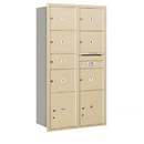 Salsbury Industries 3716D-07SRP Recessed Mounted 4C Horizontal Mailbox-Maximum Height Unit (56 3/4 Inches)-Double Column-1 MB2 Door / 6 MB3 Doors / 2 PL4.5's-Sandstone-Rear Loading-Private Access