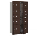 Salsbury Industries 3716D-07ZFP Recessed Mounted 4C Horizontal Mailbox-Maximum Height Unit (56 3/4 Inches)-Double Column-1 MB2 Door / 6 MB3 Doors / 2 PL4.5's-Bronze-Front Loading-Private Access